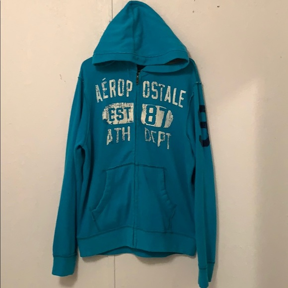 Aeropostal zip up blue men's hoodie sweater